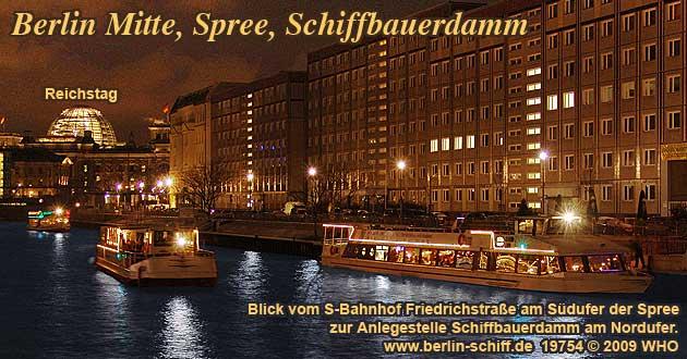 Weihnachtsfeier Berlin Spree, Schifffahrt ab Schiffbauerdamm.