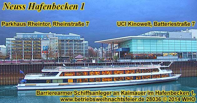 Neuss Hafenbecken 1, Schiffsanleger für Personenschiffe an der UCI Kinowelt, Batteriestraße 7.
