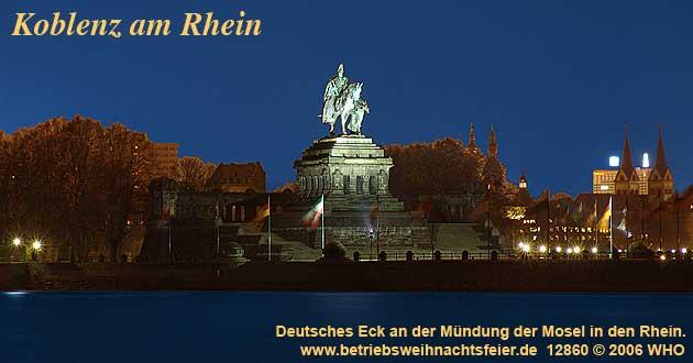 Weihnachtsfeier Koblenz am Rhein, Betriebsweihnachtsfeier Schifffahrt ab Deutsches Eck.