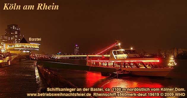Weihnachtsfeier Köln Rhein, Betriebsweihnachtsfeier Schifffahrt ab Bastei.